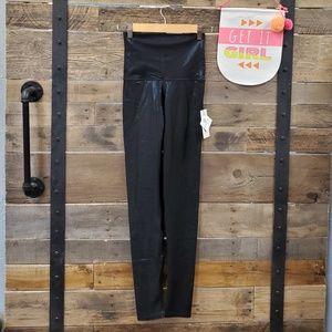 Emily HSU Jet-Black Shimmer Leggings